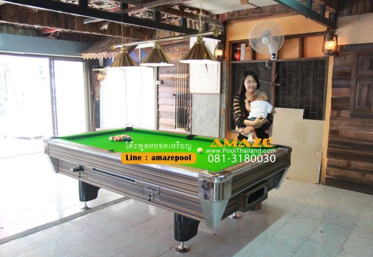 โต๊ะพูล 8ฟุต พร้อมอุปกรณ์ครบชุดและโคมไฟ www.poolthailand.com